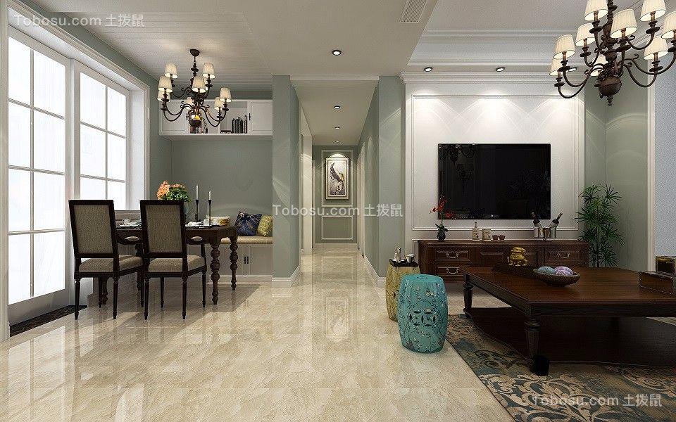 美伦香颂120平美式风格2室1厅效果图