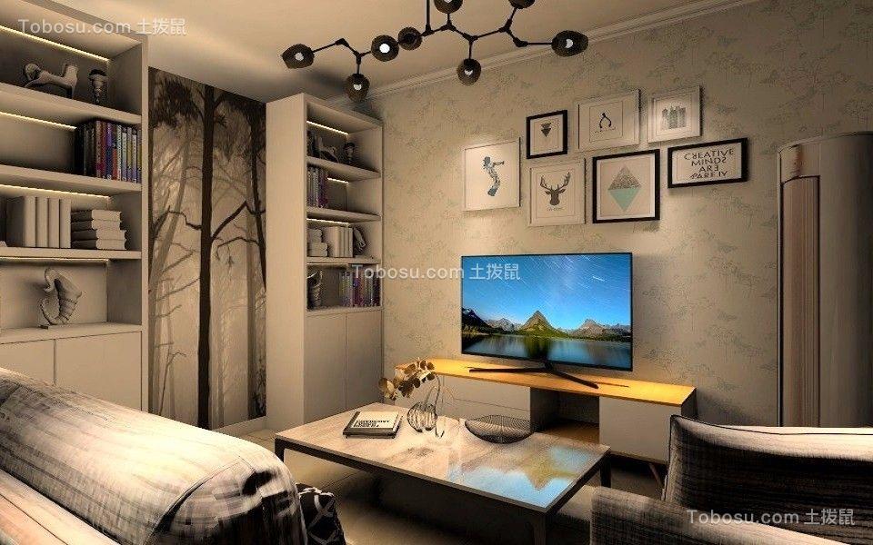 客厅 背景墙_中弘卓越城47平方北欧风格1室1厨1卫装修效果图