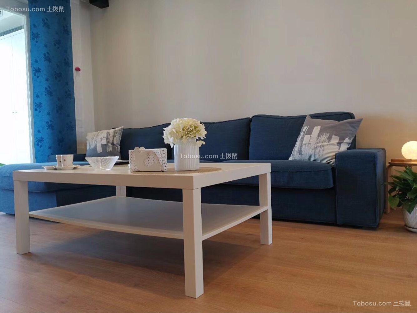 客厅蓝色窗帘简约风格装修图片
