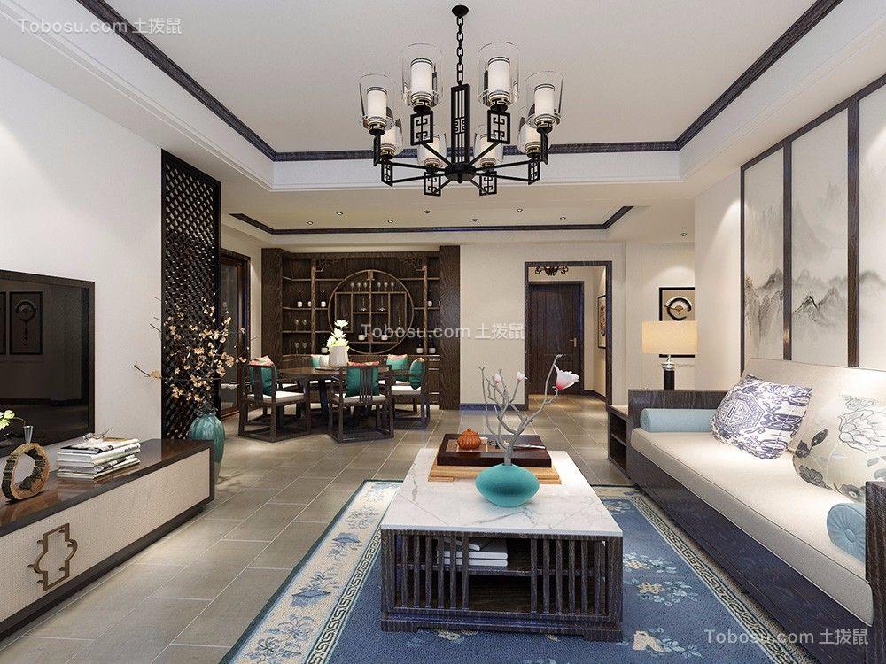 客厅绿色背景墙新中式风格装潢图片