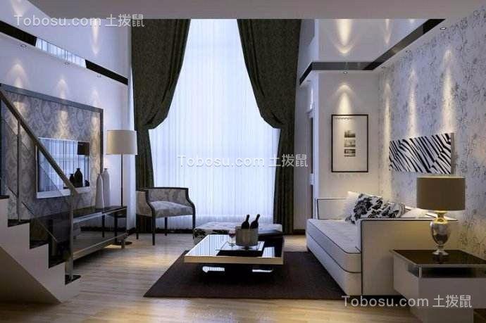 客厅白色阁楼现代风格装潢图片