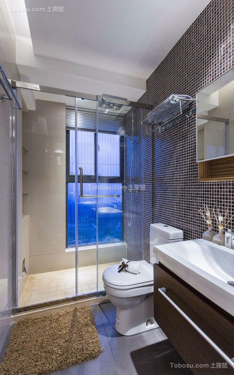 卫生间白色隔断现代简约风格装饰设计图片