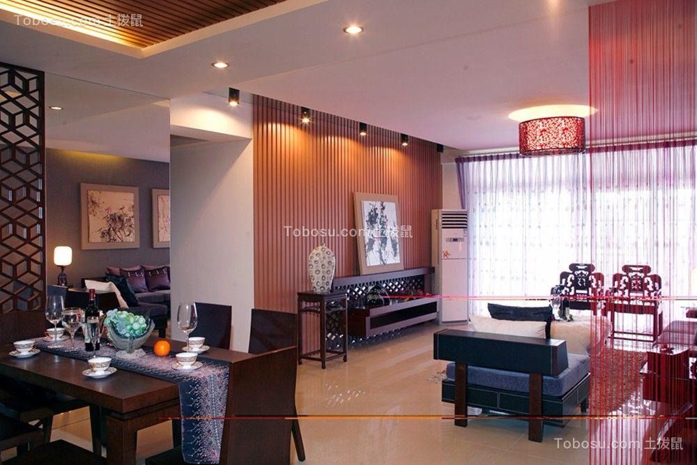 客厅黑色电视柜中式风格装饰设计图片