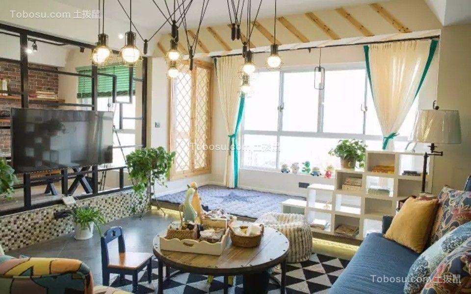 竹海水韵120平米混搭三居装修效果图