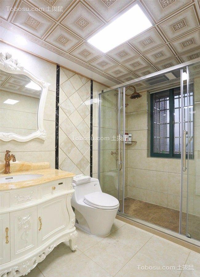 卫生间米色地砖欧式风格装修图片