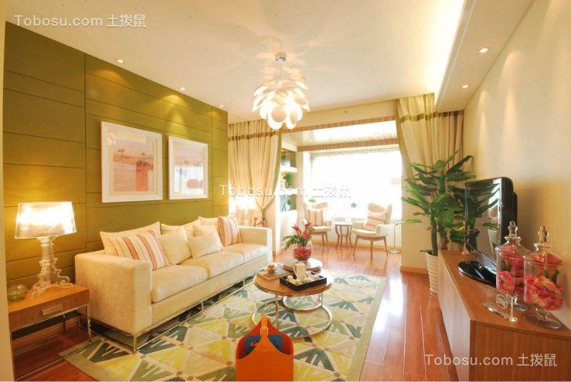 客厅绿色背景墙简约风格装饰效果图