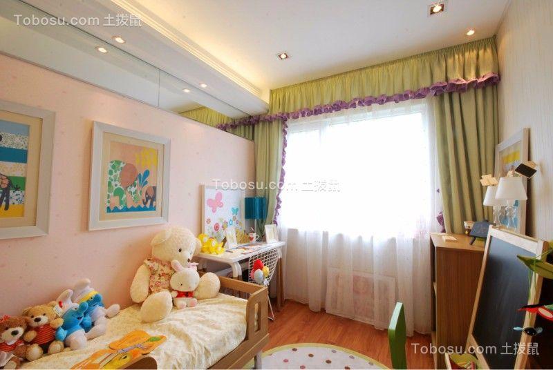 儿童房绿色窗帘简约风格装修设计图片