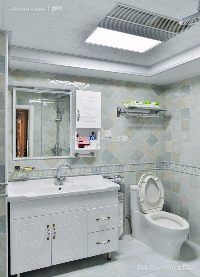 卫生间白色地砖简欧风格装潢设计图片