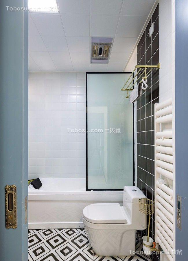 卫生间白色地砖美式风格装修图片