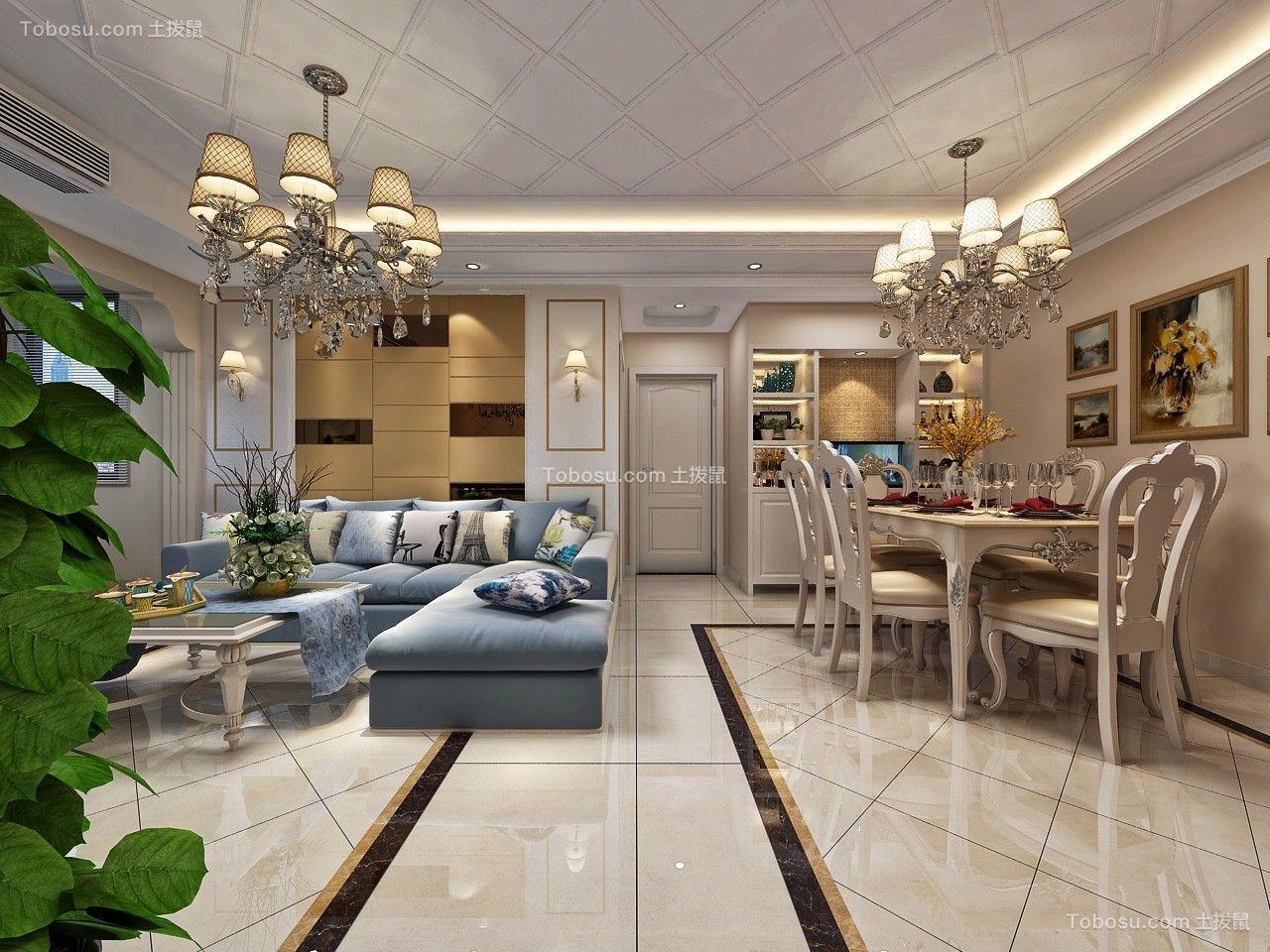 歐式風格130平米三室兩廳新房裝修效果圖