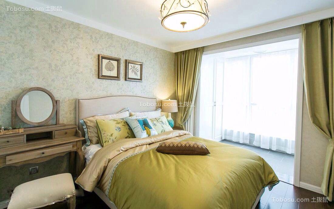 卧室绿色窗帘美式风格装潢效果图