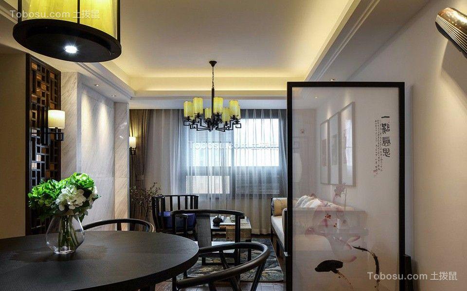 餐厅白色隔断新中式风格装饰设计图片
