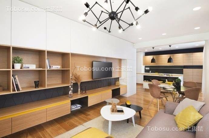 客厅米色电视柜简约风格装潢图片