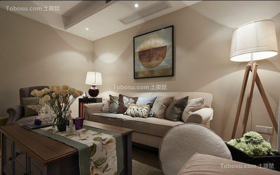 太平洋城两室两厅美式风格90平米装修效果图