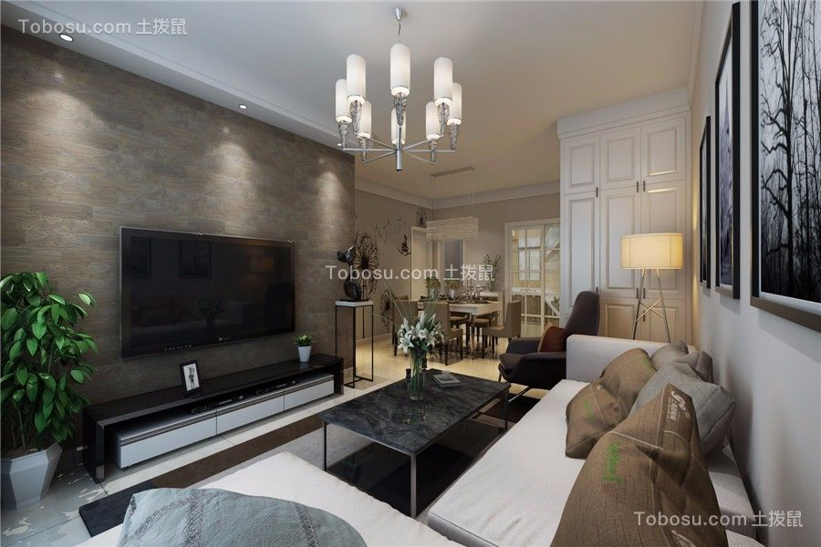 滨湖国际花都现代风格100平米三居室装修效果图