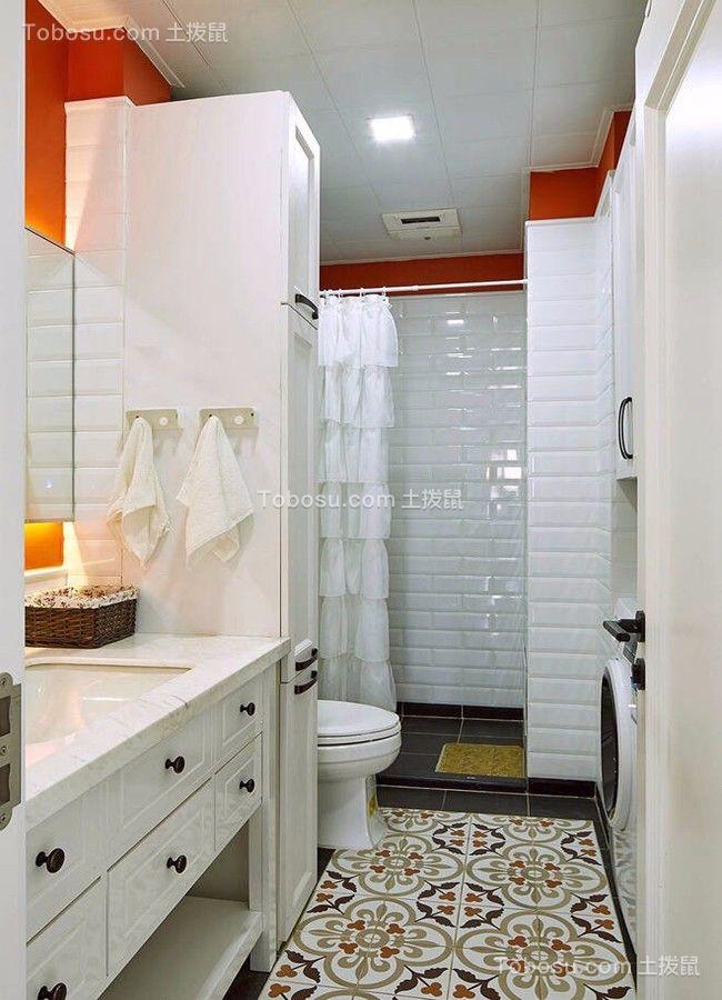 卫生间白色地砖简约风格装潢图片