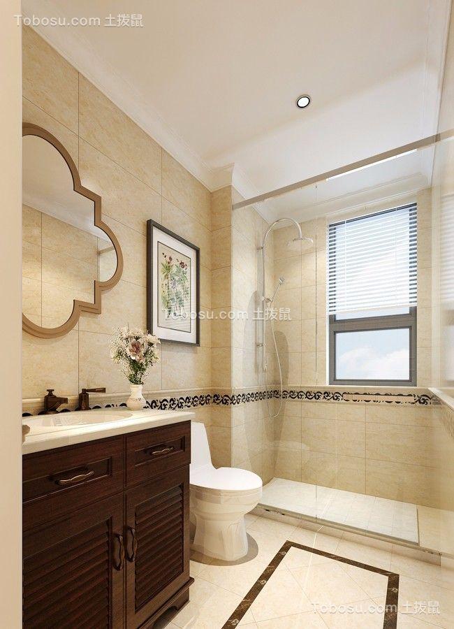 卫生间白色地砖简欧风格装饰图片