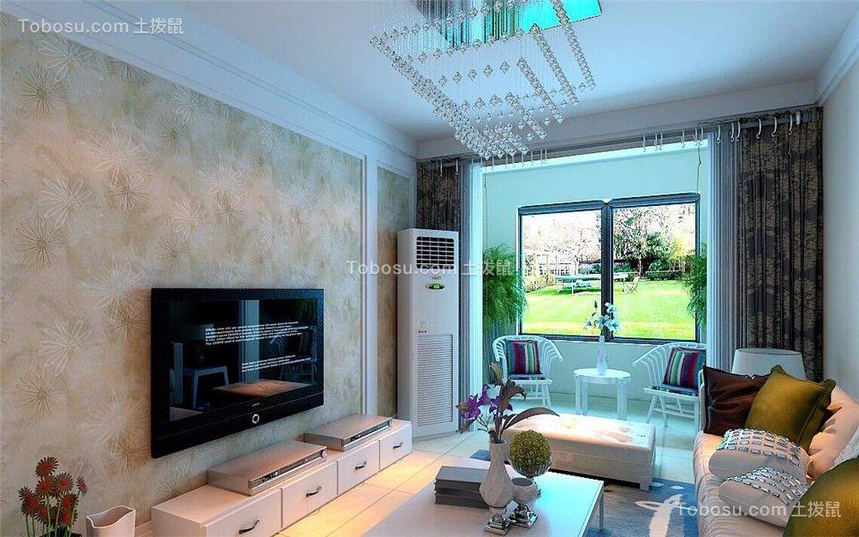 客厅绿色背景墙现代简约风格装潢效果图