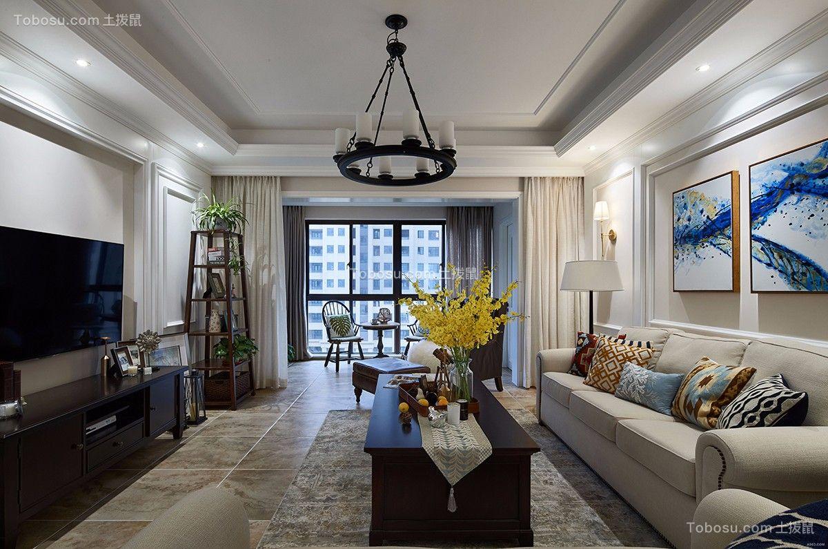 龙湖美式风格130平米三居室装修效果图