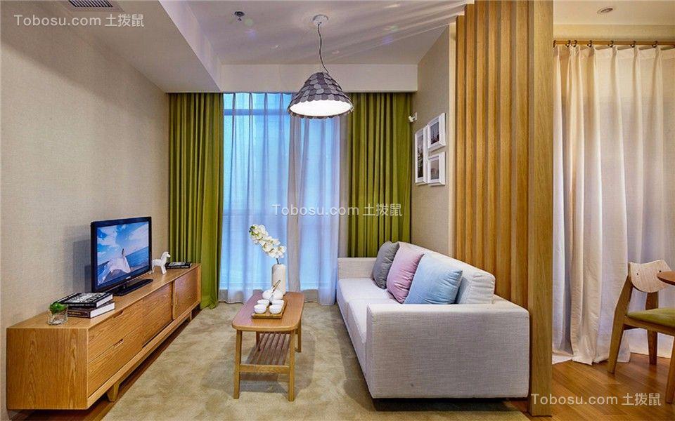 客厅绿色窗帘现代简约风格装修效果图