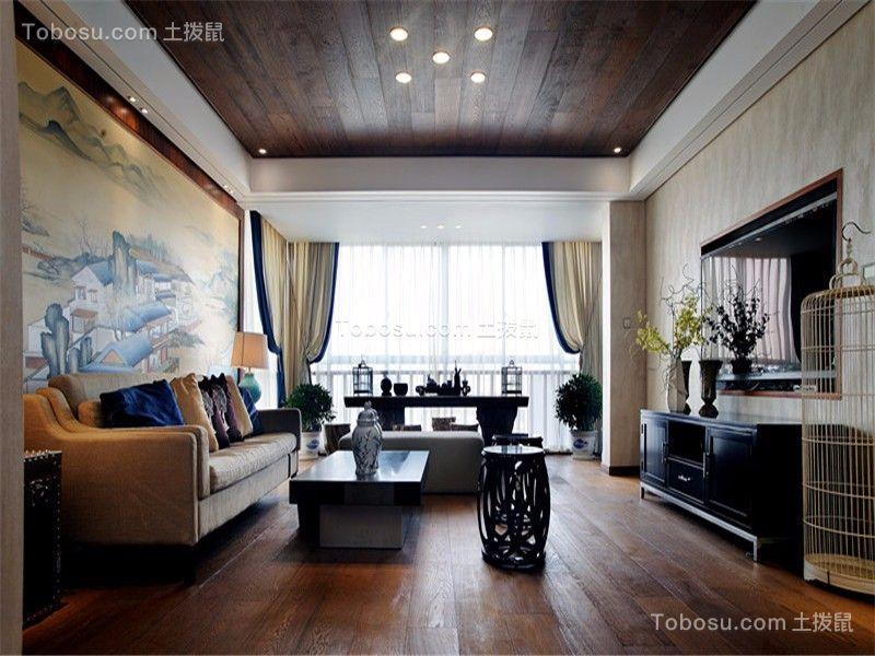 客厅咖啡色地板砖新中式风格装潢图片