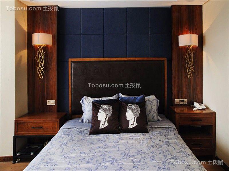卧室咖啡色床头柜新中式风格装饰设计图片
