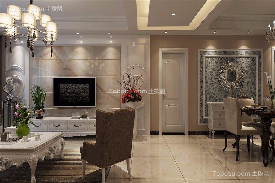 高速时代城120平简欧风格三居室装修效果图