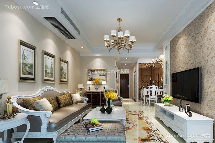 客厅白色灯具简欧风格效果图
