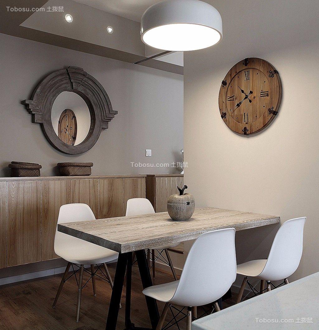 餐厅灰色背景墙北欧风格装潢设计图片
