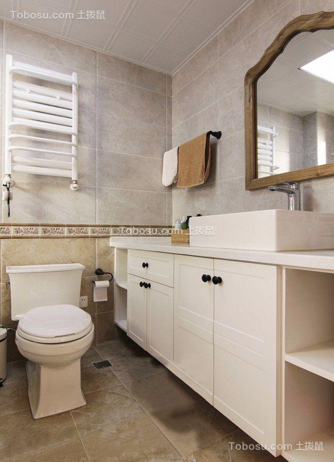 卫生间白色地砖美式风格装饰效果图