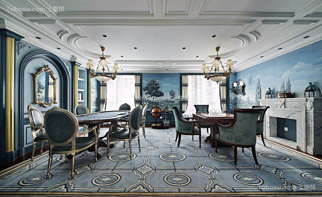 餐厅蓝色背景墙法式风格装饰图片