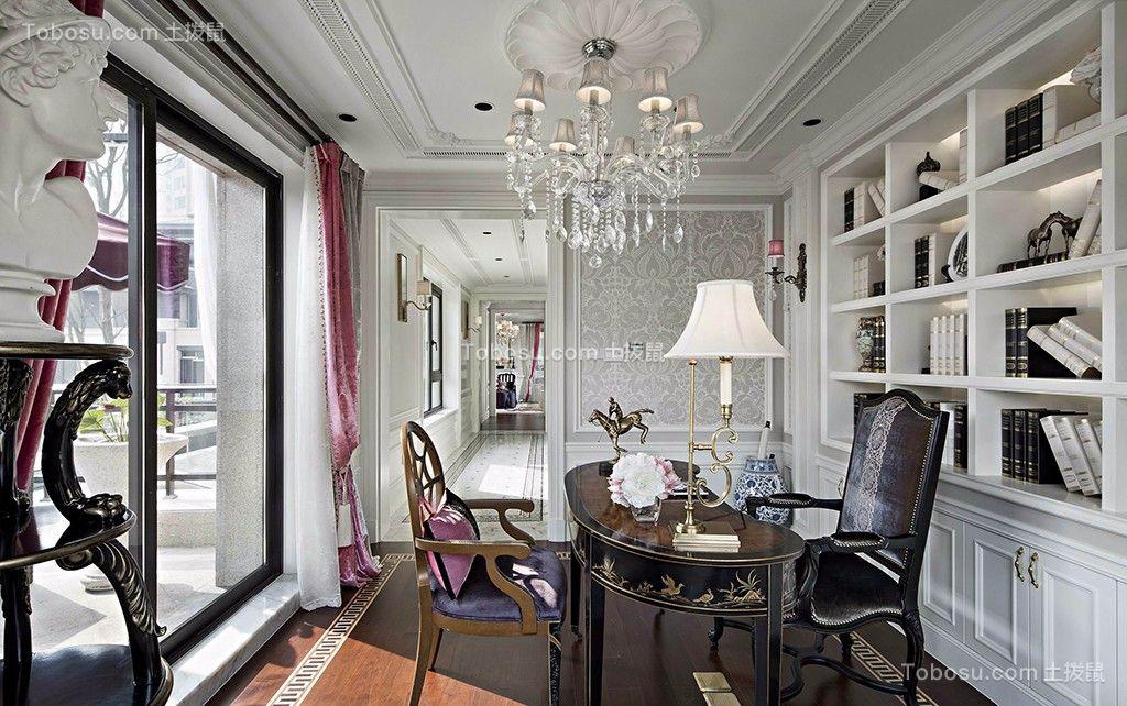书房咖啡色地板砖法式风格装修设计图片