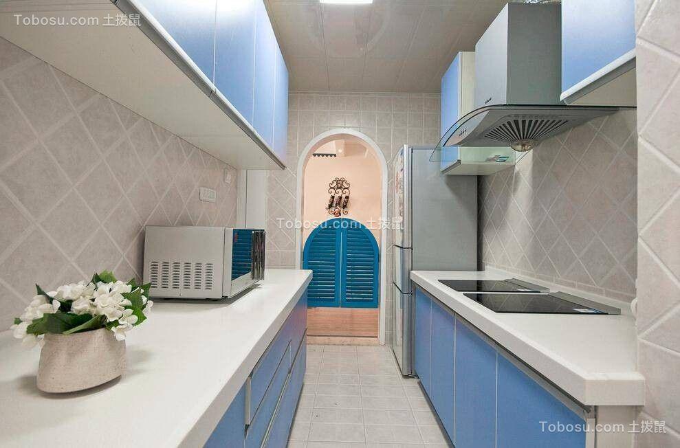 厨房彩色厨房岛台地中海风格装修效果图