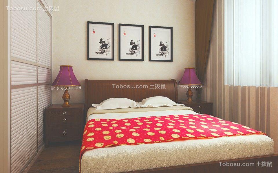 卧室咖啡色床头柜现代简约风格效果图