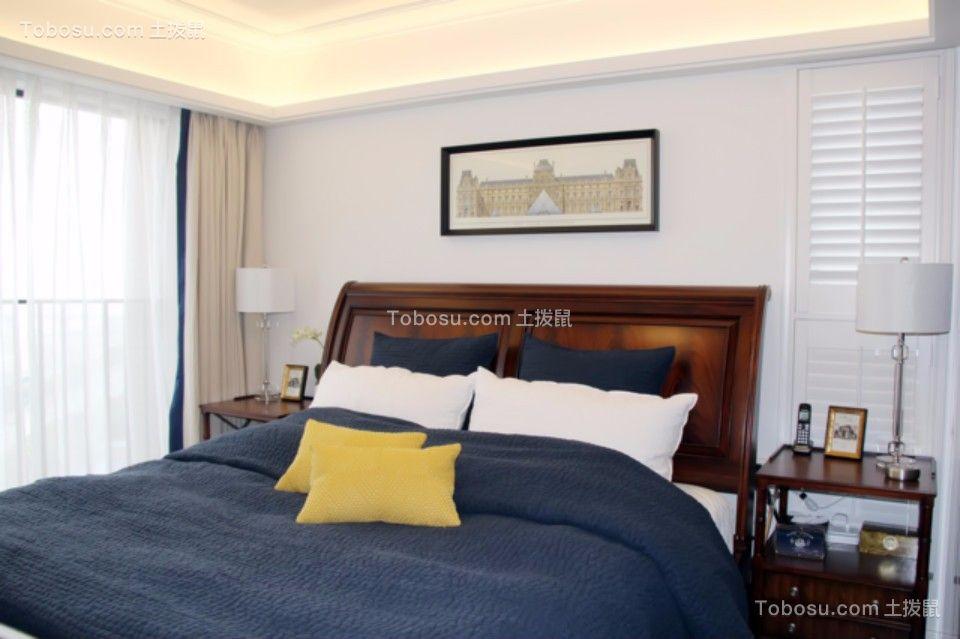 卧室咖啡色床头柜美式风格装修效果图