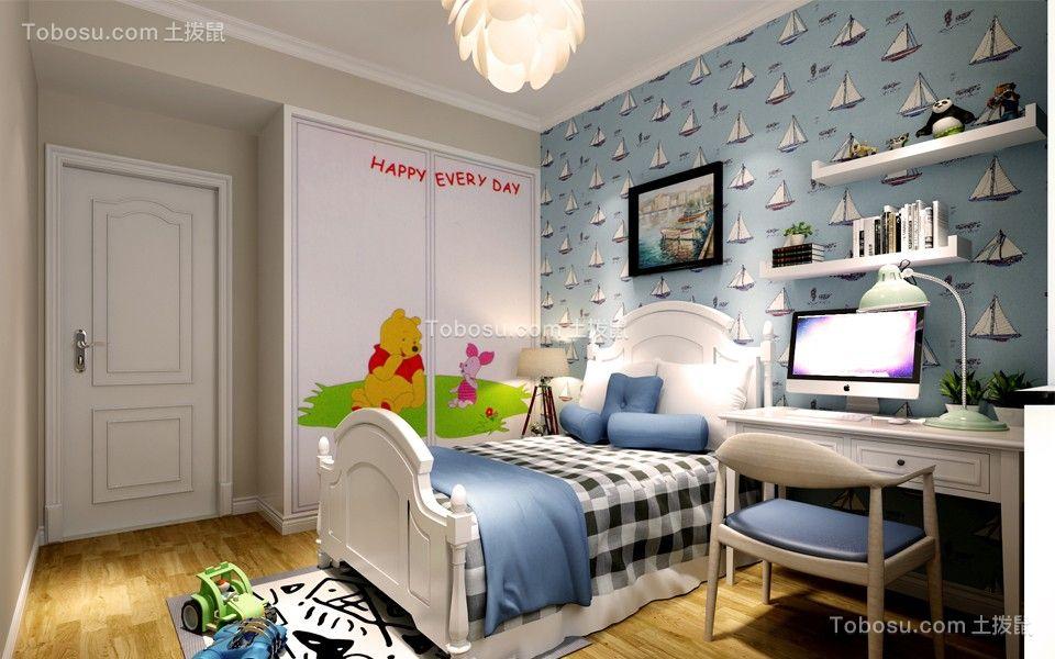 卧室蓝色照片墙简约风格装修效果图