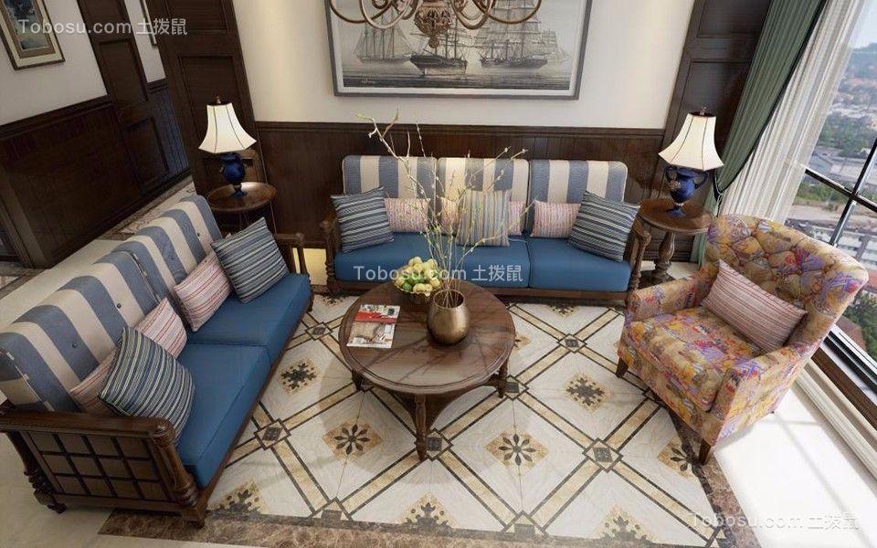 紫金华府89平三室两厅美式装修效果图