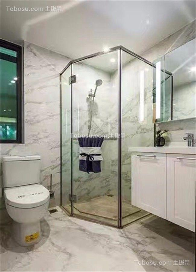 卫生间白色隔断北欧风格装饰设计图片