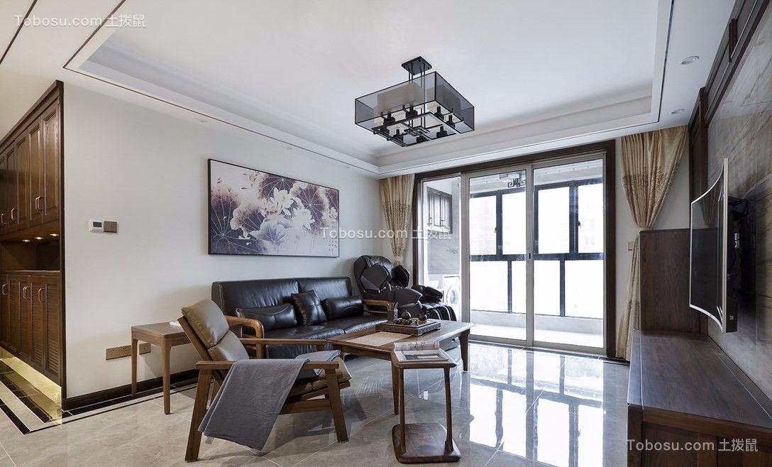 绿地新都会103平新中式风格三室两厅一厨一卫装修效果图