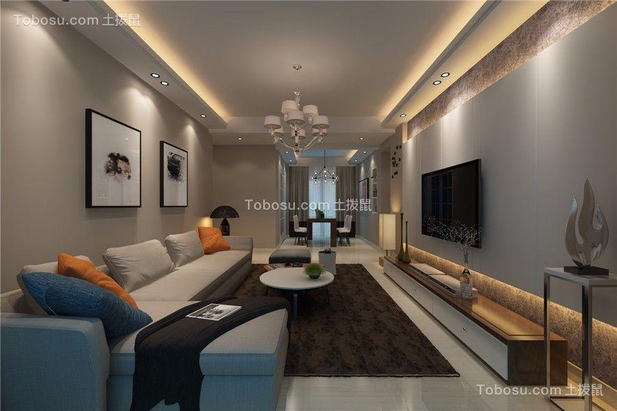 客厅蓝色沙发现代简约风格装潢设计图片