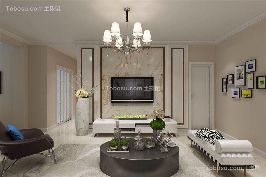 滨湖世纪城现代风格90平三居室装修效果图