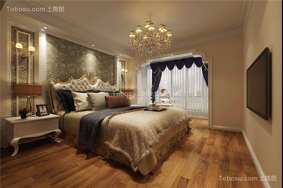 卧室蓝色窗帘简欧风格装饰设计图片