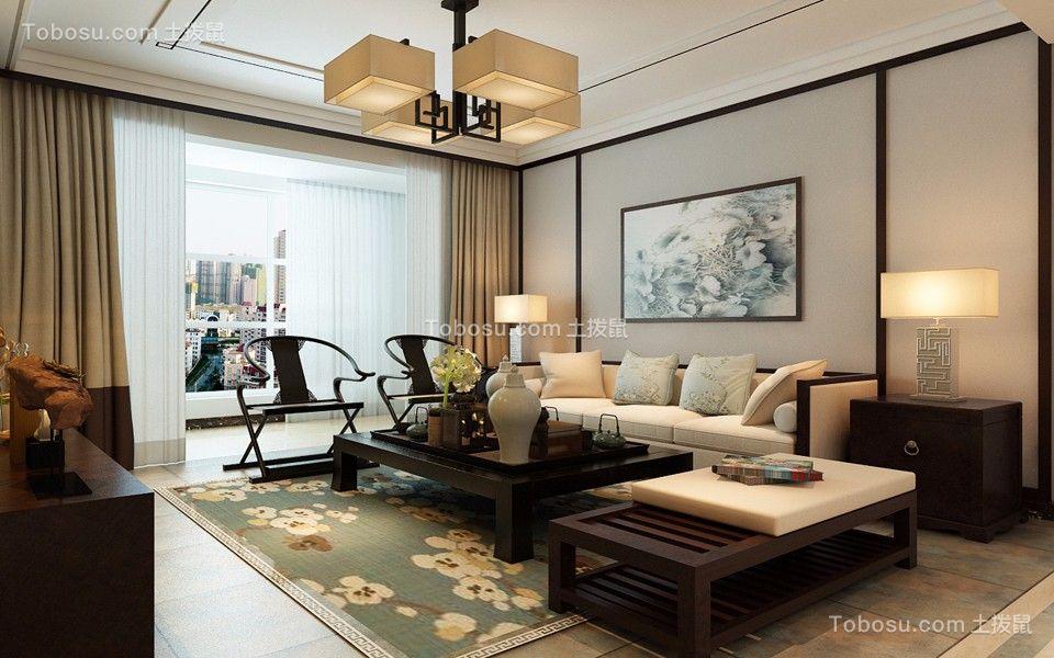 竹海水韵120平米中式风格三居装修效果图