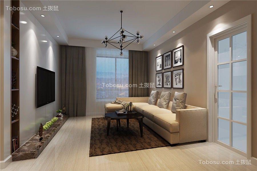 客厅灰色窗帘简约风格装修图片