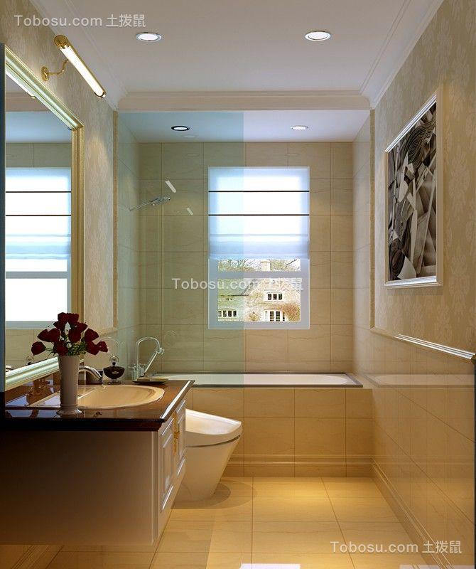 卫生间米色地砖中式风格装饰设计图片