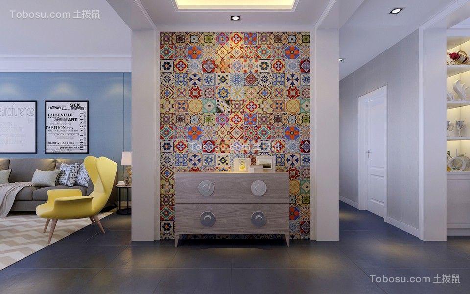 客厅蓝色背景墙北欧风格装潢效果图
