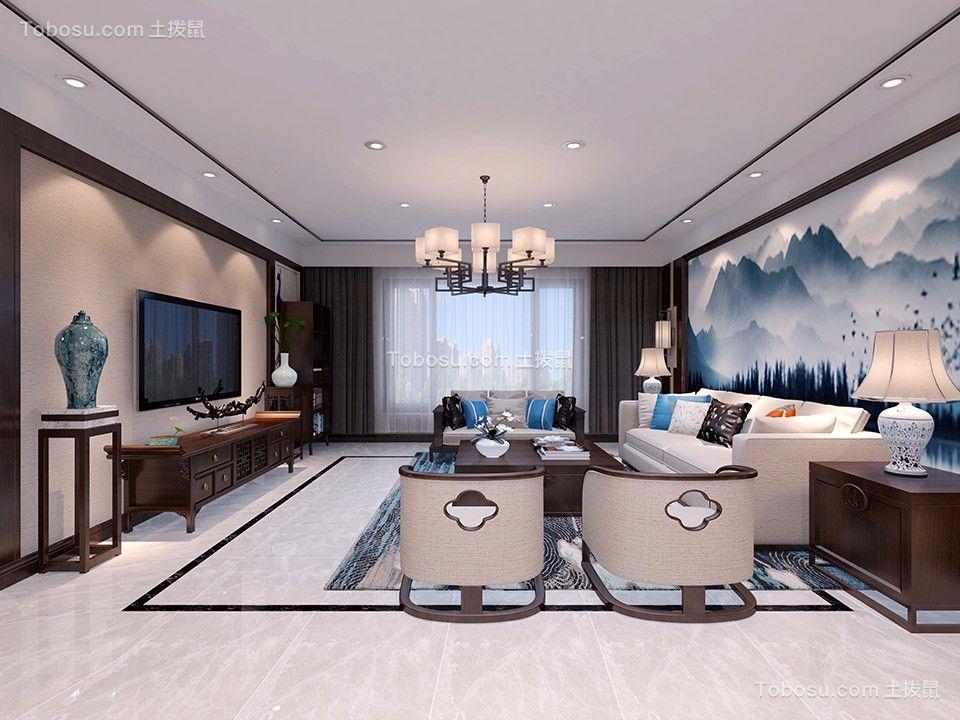 新中式风格150平米三室两厅新房装修效果图