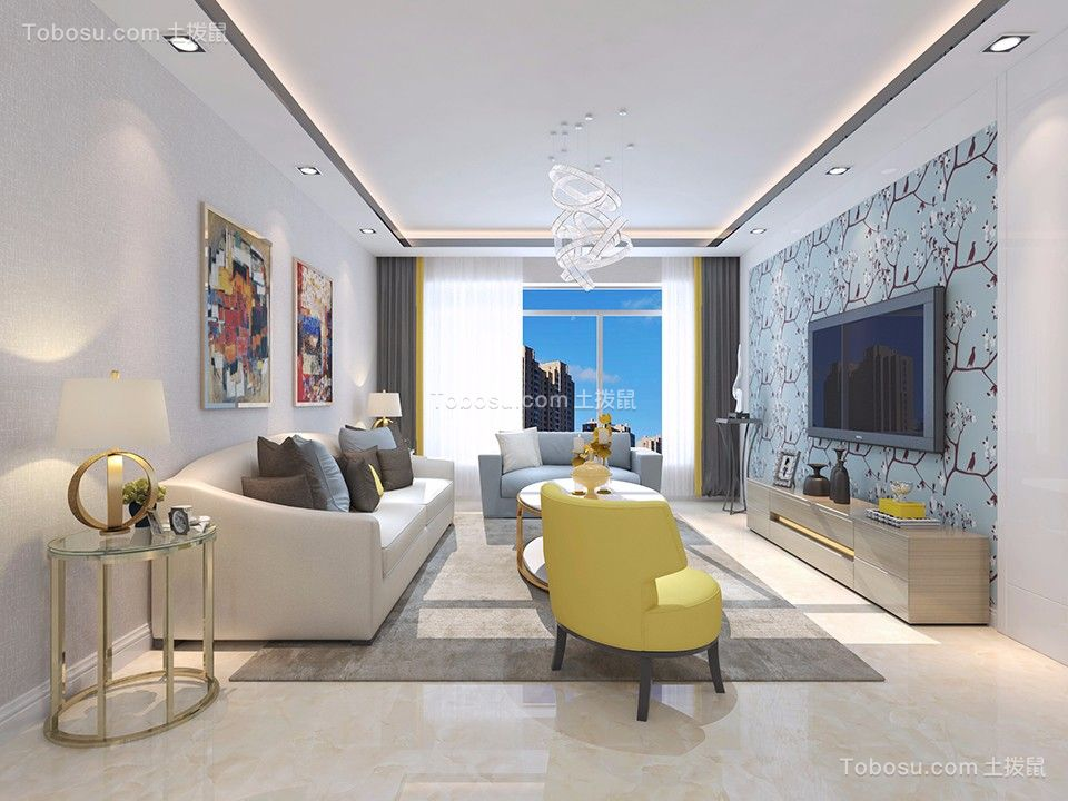 橡树湾145平简约风格二居室装修效果图