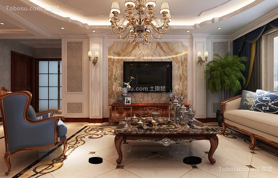 新星宇和润90平米欧式风格二居室装修效果图