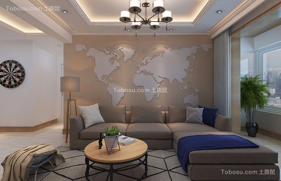 长电朗天国际120平混搭风格三居室装修效果图